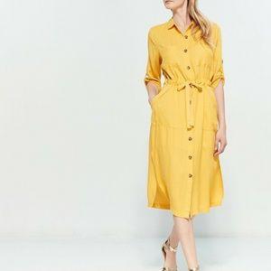 NEW Lush Yellow Belted Button Shirt Dress